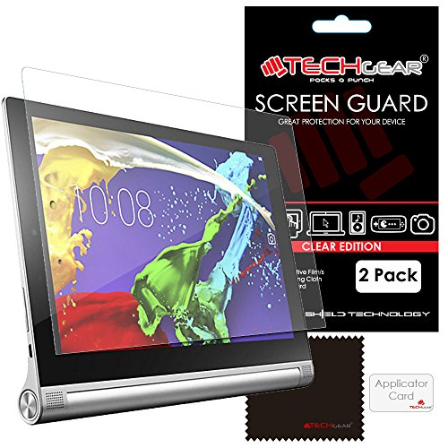 """[2 Pack] TECHGEAR® Lenovo Yoga Tablet 2 8"""" (Yoga 2 8 inch Tablet) ULTRA CLEAR LCD Screen Protector Gaurd Covers With Screen Cleaning Cloth & Application Card"""