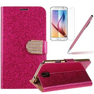 Samsung Galaxy Note 3 Bling Case,Galaxy Note 3 Case - Felfy Luxury Bling Glitter Rhinestone Sparkly PU Leather Flip Wallet Protective Case Cover +1x Screen Protector +1x Pink Stylus