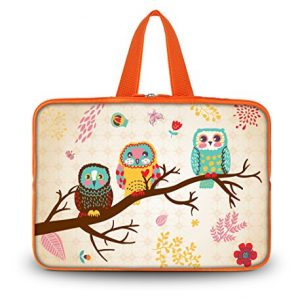 "Cute Owls 10.1"" 10"" Laptop Sleeve Bag Tablet Carry Case Cover for ASUS MeMO Pad Smart 10"" /Vivo Tab Smart/Samsung Google Nexus 10/Samsung GALAXY Tab 2,3,4,Tab S 10.5""/Apple Ipad air 4 3 2 1/Microsoft Surface Pro 2/10"" Jelly Bean Android 4.1 Tablet PC/ASUS Transformer Book T100/T100TA"
