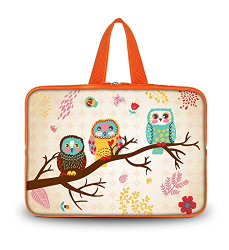 """Cute Owls 10.1"""" 10"""" Laptop Sleeve Bag Tablet Carry Case Cover for ASUS MeMO Pad Smart 10"""" /Vivo Tab Smart/Samsung Google Nexus 10/Samsung GALAXY Tab 2,3,4,Tab S 10.5""""/Apple Ipad air 4 3 2 1/Microsoft Surface Pro 2/10"""" Jelly Bean Android 4.1 Tablet PC/ASUS Transformer Book T100/T100TA"""