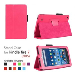 Amazon fire case,Standing case for kindle fire 7 Tablet (Fire 7'' Display 5th generation,2015 Release Only),Color (Hot Purple)
