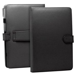 """Fosmon 10"""" Faux Leather Case Cover with Built-In USB Keyboard, Stand Feature and Capacitive Stylus Compatible with Toshiba Thrive, Google Nexus 10, Flytouch Superpad Android tablet and many others 10 & 10.1 inch aPad / ePad Tablets - Black"""