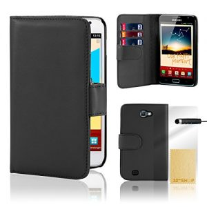 32nd® Book wallet PU leather case cover for Samsung Galaxy Note N7000 (i9220) + screen protector, cleaning cloth and touch stylus - Black