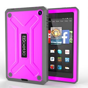 Fire HD 6 Case - Poetic Amazon Fire HD 6 Case [REVOLUTION Series] - Rugged Hybrid Case with Built-in Screen Protector for Amazon Kindle Fire HD 6 (2014) Magenta (3-Year Manufacturer Warranty from Poetic)