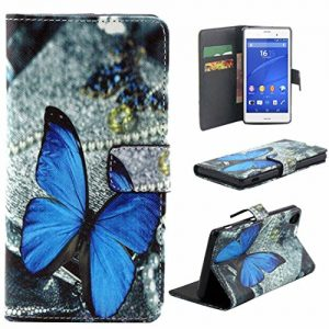 Atdoshop New Blue Butterfly Magnetic Flip Leather Case Cover for Sony Xperia Z3