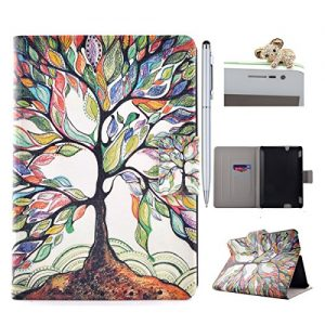 Amazon Kindle Fire HDX 7 Case, Amazon Kindle Fire HDX 7 Cover, Amazon Kindle Fire HDX 7 Folio Flip Case, Leather Case for Amazon Kindle Fire HDX 7 - Felfy Colorful Painting Pattern Fashion Stylish Art Tree Design Ultra Thin Flip PU Leather Protective Stand Case Cover [Card Slot Case] [Magnetic Closure] for Amazon Kindle Fire HDX 7 inch (5rd generation - 2015 release), 1x Diamond Koala Dust Plug +1x Silver Stylus