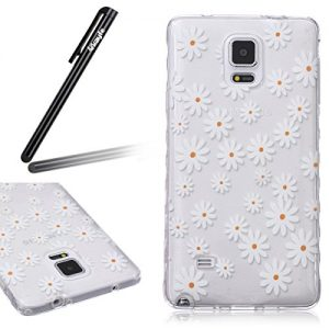 Samsung Galaxy Note 4 Case, Samsung Galaxy Note 4 Transparent Silicone Cover, Ukayfe Ultra Thin Clear Soft Gel TPU Silicone Case Cover with White Little Daisy Flower Pattern for Samsung Galaxy Note 4 with 1 x Black Stylus