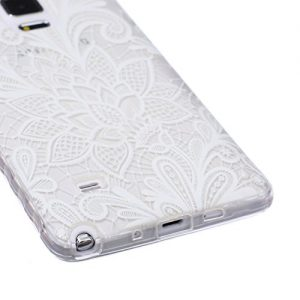 Samsung Galaxy Note 4 Case, Samsung Galaxy Note 4 Transparent Silicone Cover, Ukayfe Ultra Thin Clear Soft Gel TPU Silicone Case Cover with Henna White Floral Paisley Flower Mandala Pattern for Samsung Galaxy Note 4 with 1 x Black Stylus