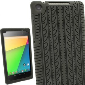iGadgitz Black Silicone Skin Case Cover with Tyre Tread Design for Asus Google Nexus 7 FHD Android Tablet 16GB 32GB 2nd Generation 2013 + Screen Protector (Not suitable for the 1st Gen July 2012)
