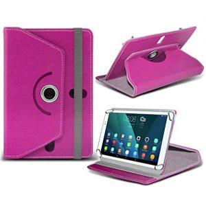 (Hot Pink) Linx 810 [8 inch ] Case [Stand Cover] for Linx 810 [8 inch ] Tablet PC Case Cover [Stand Cover] Durable Synthetic PU Leather 360 Roatating cover Case [Stand Cover] with 4 springs by i- Tronixs