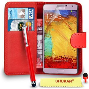 Samsung Galaxy Note 3 Premium Leather Red Wallet Flip Case Cover Pouch + Big Touch Stylus Pen + RED 2 IN 1 Dust Stopper + Screen Protector & Polishing Cloth SVL2 BY SHUKAN®, (WALLET RED)