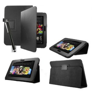 Black Case for Amazon Kindle Fire HDX 7 ebook reader tablet with free screen protector
