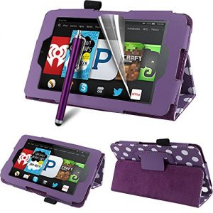 """CreatValu Fire HD 6 Tablet (2014 Oct Release) Case - Auto Sleep / Wake Leather Case Pouch for Amazon Kindle Fire HD 6"""" Slim Flip Leather Standing Protective Cover Fire HD 6 inch 4th Generation 2014 model (Wi-Fi 8GB & 16GB) - Purple Polka"""