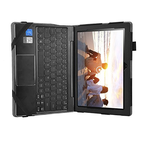 Lenovo Miix 310 10.1 inches Case, iBetter High Quality Leather Keyboard Portfolio Stand Cover Case for Lenovo Miix 310 ,Black