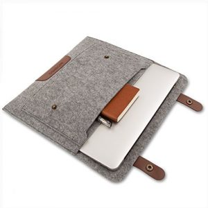 Mosiso Felt Shoulder Bag Briefcase Carry Case Laptop Bag for 12.9 iPad Pro / 13 - 13.3 inch MacBook Air & Pro /  Pro Rerina / Laptops / Notebook, Compatible with Most 11-Inch Ultrabook Netbook, Gray