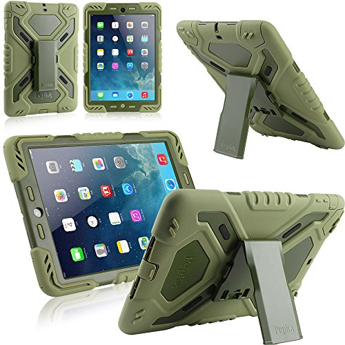 Multi Function Silicone Waterproof Shockproof Dustproof Rugged Apple iPad Air Case Cover with adjustable stand (New 2nd Gen Model) for Apple iPad Air/iPad 5 Color Army Green