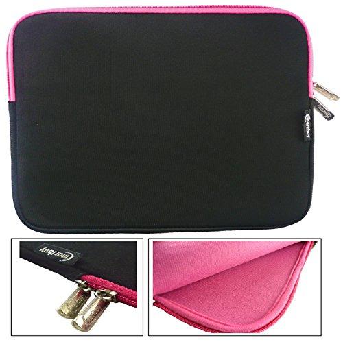 Emartbuy Water Resistant Neoprene Soft Zip Case Cover Sleeve for 10.1-Inch Lenovo Ideapad Miix 300 Tablet - Black/Pink