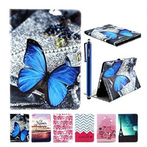 iPad Air 2 Case, iPad Air 2 Cover, DEENOR Dark blue butterfly Pattern PU Leather Cover Stand Flip Case Cover for Apple iPad Air 2 iPad 6 Generation. (Dark blue butterfly)