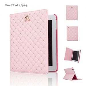 IPad Case,IPad 2/3/4 Case,IDEGG® For Apple iPad 2, iPad 3, iPad 4 Fashion PU Leather Crown Design Bling Protective Smart Stand Case Cover with Auto Wake/Sleep (Pink, iPad 2/3/4)