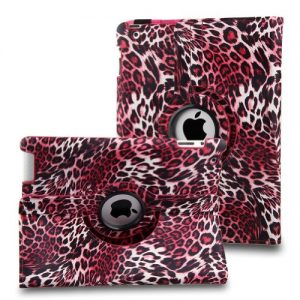 Leopard Pink 360 Degree Rotating Stand Smart Cover PU Leather Case for iPad 2/3/4 Generation Retina Display (wake/sleep capability) + Free Gift ONE Stylus Pen