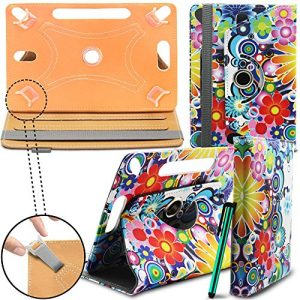 Lenovo Miix 300 10.1 Inch Tablet Case New Design TAN Universal 360 degree Rotating PU Leather Designer Colourful Stand Case Cover - Pot Pourri by Gadget Giant®