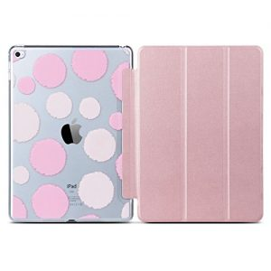 iPad Air 2 Case, ULAK Ultra Slim Folio Stand [Polka Dotted] Clear PC Back PU Leather Case Cover With Magnetic Auto Wake & Sleep Function for iPad Air 2 / iPad 6th Generation (Rose Gold)
