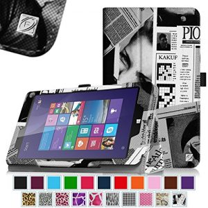 Linx 8 inch / Linx 810 8-Inch Tablet Case - Fintie Premium Vegan Leather Folio Stand Cover with Stylus Loop for Linx 8-inch Windows 8 / Linx 810 8-Inch Windows 10 Tablet, Newspaper