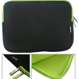 Emartbuy® Black / Green Water Resistant Neoprene Soft Zip Case Cover Sleeve With Green Interior & Zip Suitable for Lenovo IdeaPad Miix 700 12 Inch Convertible Notebook ( 11.6 - 12.5 Inch Tablet Chromebook Laptop )