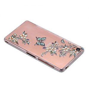 ECENCE Sony Xperia Z3 SLIM TPU CASE STRASS GLITTER CASE COVER TRANSPARENT CLEAR GEL SKIN Blossoms 24010307