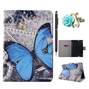 Amazon Kindle Fire HDX 7 Case, Amazon Kindle Fire HDX 7 Cover, Amazon Kindle Fire HDX 7 Folio Flip Case, Leather Case for Amazon Kindle Fire HDX 7 - Felfy Colorful Painting Pattern Fashion Stylish Blue Butterfly Design Ultra Thin Flip PU Leather Protective Stand Case Cover [Card Slot Case] [Magnetic Closure] for Amazon Kindle Fire HDX 7 inch (5rd generation - 2015 release), 1x Diamond Flower Dust Plug +1x Black Stylus