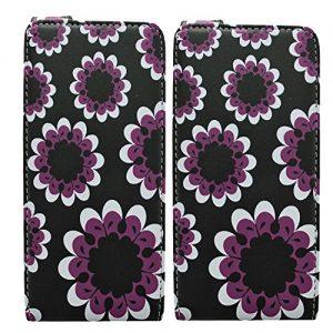 Gr8value PU LEATHER BOOK CASE COVER WALLET FOR Samsung Galaxy Note N7000 (i9220) + FREE STYLUS Samsung Galaxy Note Gt-n7000 I9220 (big purple flower black flip case)
