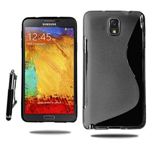 For Samsung Galaxy Note 3 Soft Rubber Gel Skin Case Cover with Retractable Stylus Pen & Screen Film & Polishing Cloth (Black)