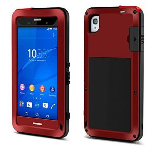 FOME Xperia Z3 Case, Extreme Hard Military Heavy Aluminum Metal Armor Tank Gorilla Glass Shockproof Rainproof Water Resistant Weatherproof Dust/Dirt/Snow Proof Anti-smudge Resistant Acoustic Port Protection Cover Case For Sony Xperia Z3 L55(Red) + FOME Gift