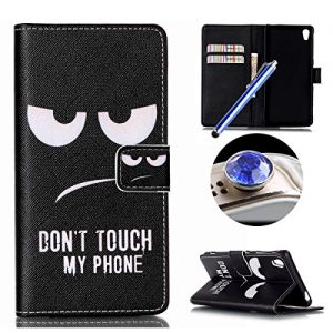 Etche Wallet Case for Sony Xperia Z3,Leather Case for Sony Xperia Z3,Funny Black Eye Quote Design Magetic Leather Flip Case with Card Holder for Sony Xperia Z3 with Blue Stylus Pen and Bling Glitter Diamond Dust Plug Colors Random-Black Eye Quote