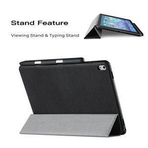 iVAPO Pencil Holder Flip Folio Case for iPad Pro 9.7 PU Leather Slim Cover Brief Business Style with Apple Pencil Holder Stand Feature Auto Sleep/Wake Smart Apple iPad Pro 9.7 2016 Model Case (Black)