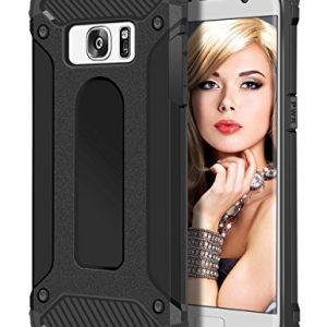 Galaxy S7 Edge Case, Coolden® Hybrid Rugged Dual Layer Armor Case Galaxy S7 Edge Protective Case Shock Absorption Bumper Hard Case Cover for Samsung Galaxy S7 Edge - Heavy Duty Protection Case (Black)