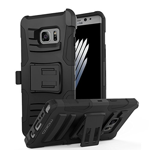 Galaxy Note 7 Case - MoKo Premium Full Body Rugged Cover with Kickstand, Ultimate Drop Protection & Shock Absorbent Case for Samsung Galaxy Note 7 5.7 Inch 2016 Release, BLACK
