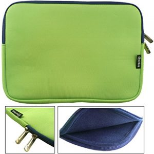 Emartbuy® Green / Blue Water Resistant Neoprene Soft Zip Case Cover Sleeve With Blue Interior & Zip Suitable for Lenovo IdeaPad Miix 700 12 Inch Convertible Notebook ( 11.6 - 12.5 Inch Tablet Chromebook Laptop )