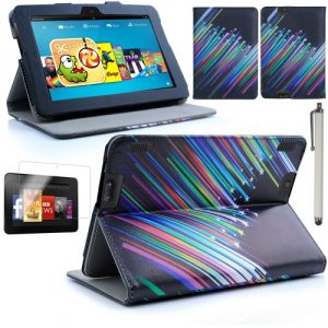 """Juju Village New Amazon Kindle Fire HDX 7"""" 7 inch 2013 PU Leather Front & Back Case / Smart Cover / Typing & Viewing Stand / Flip Case (Fits Versions - 16GB, 32GB & 64GB Wi-Fi + 4G LTE) With Magnetic Sleep Sensor & Screen Protector Shield Guard & Amazon Kindle Fire HDX Tablet Stylus (Shooting Star Stripes)"""