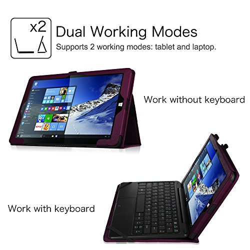 Linx 1010B / Linx 1010 10.1-Inch Tablet Case - Fintie Slim Fit Folio Premium Vegan Leather Stand Cover For Linx 1010B 10.1 Inch Windows 10 Tablet and Compatible with Linx 1010 10.1-Inch Tablet, Purple