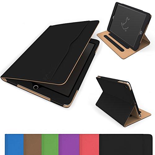 RC iPad Air / Air 2 Case, Executive Smart Folio - Faux Leather Cover (iPad Air / Air 2 Case), Black & Tan