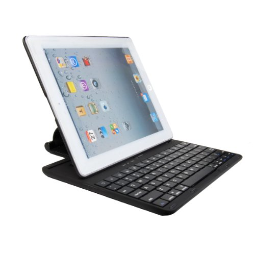 Bluetooth Wireless Keyboard Rotating Stand Case Pink for ipad 2 3 4 (Black)