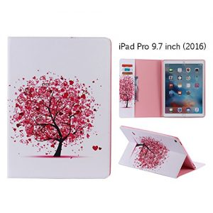 Leather Case for Apple iPad Pro 9.7 inch (2016), Aeeque® Ultra Slim Thin Premium Flip [Card Slots with Magnetic Closure] Colorful Style Pattern Faux PU Wallet Cover Protective - Red Tree Love Heart
