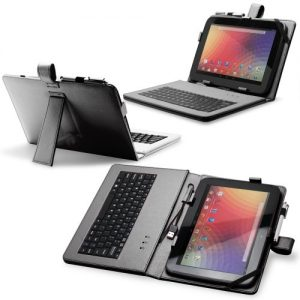 "Fosmon 10"" Faux Leather Case Cover with Built-In USB Keyboard, Stand Feature and Capacitive Stylus Compatible with Toshiba Thrive, Google Nexus 10, Flytouch Superpad Android tablet and many others 10 & 10.1 inch aPad / ePad Tablets - Black"