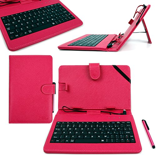 DURAGADGET Deluxe QWERTY Keyboard Folio Case in Pink for the New Lenovo TAB 2 A8 / Lenovo IdeaPad MIIX 300 Tablet - with Micro USB Connection, Built-In Stand & BONUS Stylus Pen