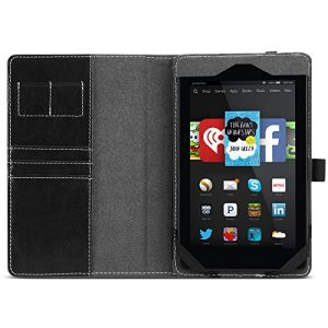 Fire HD 6 Case - Poetic Amazon Fire HD 6 Case [SlimBook Series] - Folio Case with Folding Cover Stand for Amazon Kindle Fire HD 6 (2014) Black (3-Year Manufacturer Warranty from Poetic)