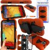 Magic Global Gadgets - Orange Heavy Duty Ultra Tough Military Case For Samsung Galaxy Note 3 III N9000 / N9005 / N9002 3G LTE Rugged Builders Workman School Extreme Grade Shock Proof Cover With 90° Swivel Belt Clip + Built In Screen Guard Protector & Mini Capacitive Stylus Touch Pen
