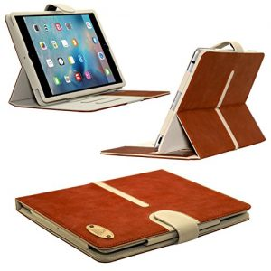 iPad Air 2 Buckle Detachable Suede Leather Case by Gorilla Tech® Executive Suede Leather Case Cover with stand and card slots iPad Air 2 (6th Generation), (Brown)