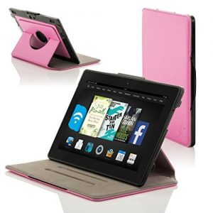 Forefront Cases® New Leather Rotating Case Cover for Amazon Fire HD 6 Tablet (October 2014) - Full device protection and Smart Auto Sleep Wake function with 3 YEAR FOREFRONT CASES WARRANTY