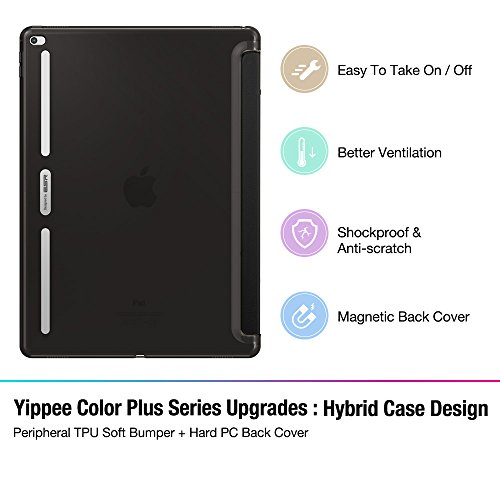 iPad Pro 12.9 Case, ESR® iPad Pro Smart Case Cover Synthetic Leather Soft TPU Bumper Edge [Corner Protection] and Translucent Frosted Back with Magnetic Auto Wake & Sleep Function [Ultra Slim] for iPad Pro 12.9 inch /iPad 7th Generation [Launched 2015] (Black)